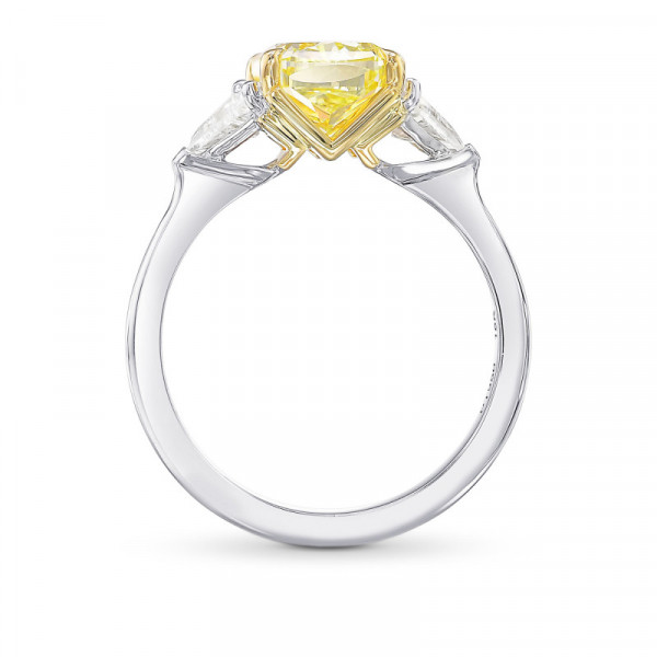 Fancy Intense Yellow Cushion 3 Stone Diamond Ring (3.31Ct TW)