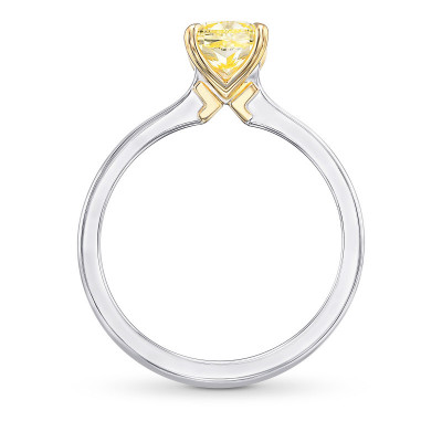 Fancy Yellow Cushion Diamond Solitaire Ring (1.26Ct)