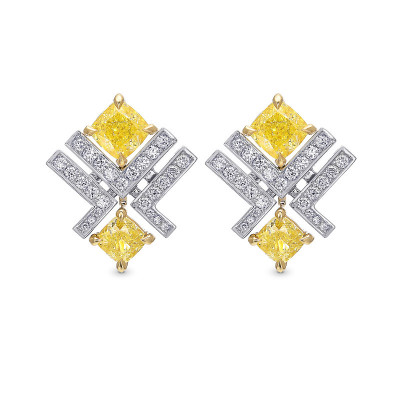 Fancy Yellow Cushion and Pave Diamond Stud Earrings (2.22Ct TW)