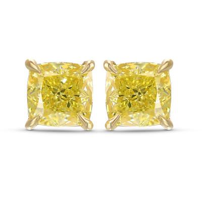 Fancy Intense Yellow Cushion Stud Earrings (2.05Ct TW)