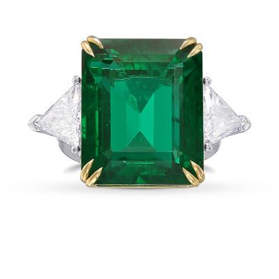 Vivid Green Octagon Emerald and Diamond 3 Stone Ring (22.48Ct TW)