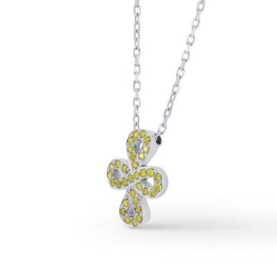 Fancy Vivid Yellow Cross-over Figure of Eight Pave Diamond Pendant (0.12Ct TW)