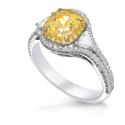 Fancy Yellow Cushion Diamond Double Halo Ring (2.63Ct TW)