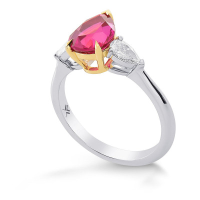 Pear Shape Ruby and Diamond 3 Stone Ring (2.39Ct TW)