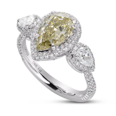 Fancy Grayish Yellowish Green Pear Shape 3 stone Halo Ring (3.04Ct TW)
