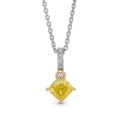 Fancy Vivid Yellow Diamond Radiant Drop Pendant (0.75Ct TW)