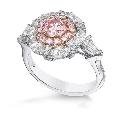 Extraordinary Argyle Fancy Intense Pink Round Halo Side Stone Ring (2.20Ct TW)