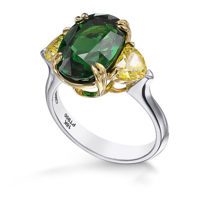 Oval Vivid Green Tsavorite and Fancy Vivid Yellow Diamond 3 Stones Ring (7.11Ct TW)