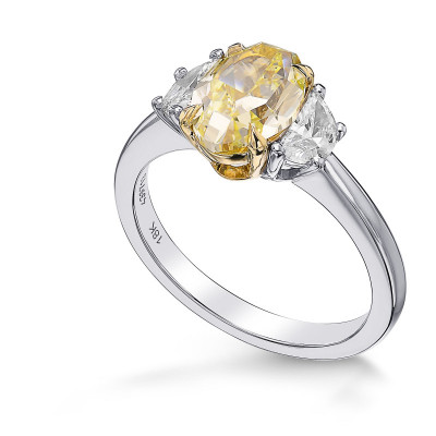 Fancy Yellow Oval & Half-Moon Diamond 3 Stone Ring (1.90Ct TW)