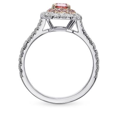 Fancy Intense Pink Cushion Double Halo Diamond Ring (1.13Ct TW)