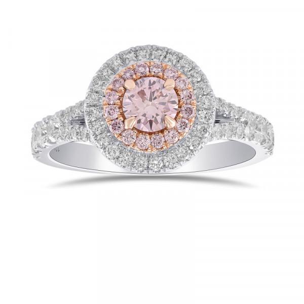 Argyle Fancy Pink Round Diamond Double Halo Ring (0.77Ct TW)