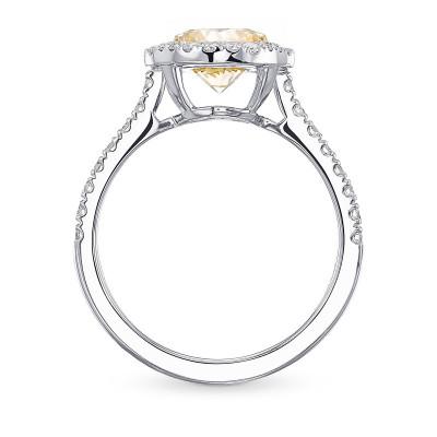 Fancy Yellow Round Halo Diamond Ring (1.94Ct TW)