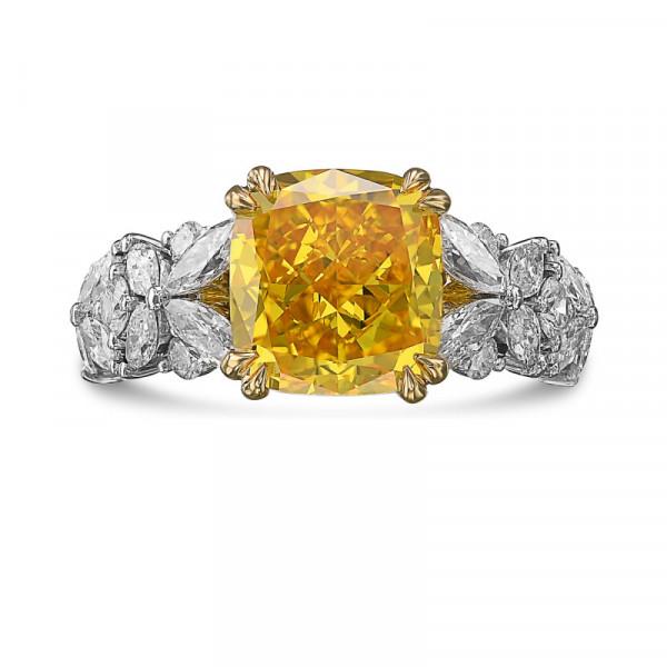 Extraordinary Fancy Vivid Orangy Yellow Cushion Diamond Ring (3.94Ct TW)