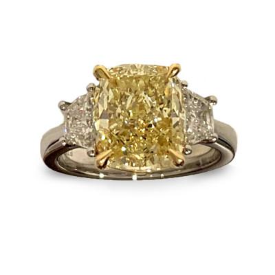Light Yellow Cushion 3 Stone Diamond Ring (3.92Ct TW)
