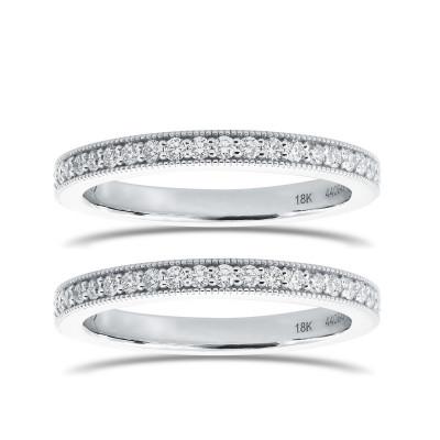 Pair of Diamond Milgrain Pave Wedding Bands (0.60Ct TW)