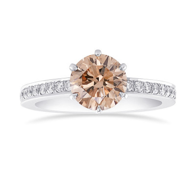 Fancy Brown  Round  Diamond Side Stone  Ring (1.40Ct TW)
