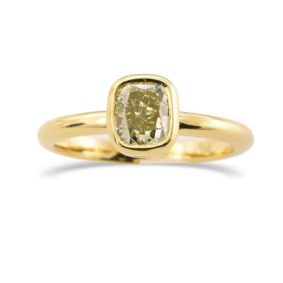 Fancy Grayish Yellowish Green Cushion Solitaire Diamond Ring (1.01Ct)