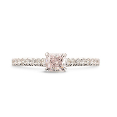 Fancy Light Pink Radiant Side-stone Diamond Ring (0.52Ct TW)