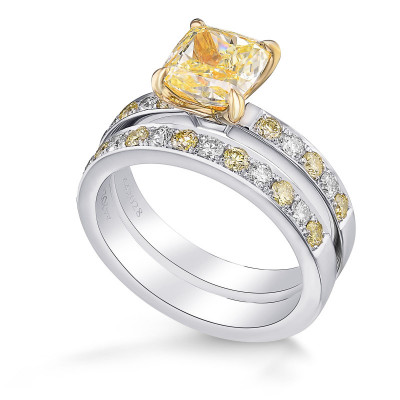Fancy Yellow Cushion Side-stone Engagement & Wedding Ring Set (2.02Ct TW)