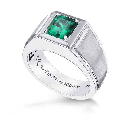 Green Colombian Emerald Gents Ring (1.72Ct)