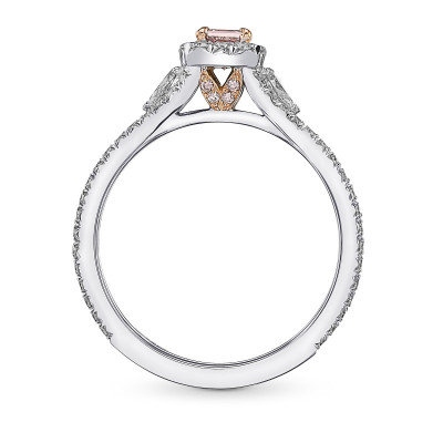 Fancy Intense Pink Princess & Pear Diamond Ring (0.84Ct TW)