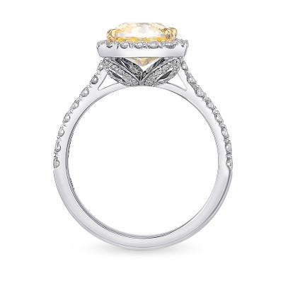 Fancy Yellow Cushion Halo Diamond Ring (3.12Ct TW)