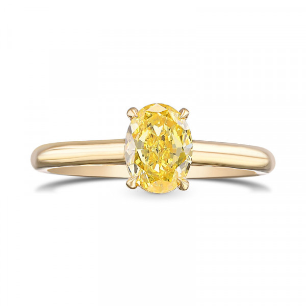 Fancy Vivid Yellow Oval Solitaire Diamond Ring (0.91Ct)