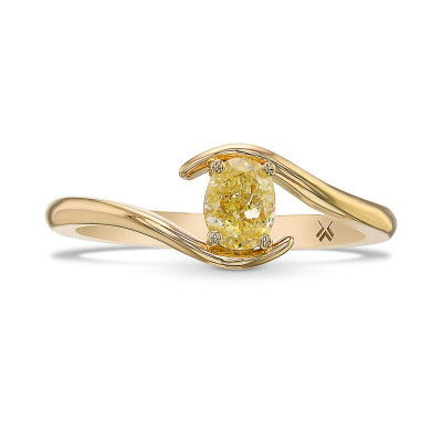 Fancy Yellow Oval Diamond Solitaire Ring (0.39Ct)