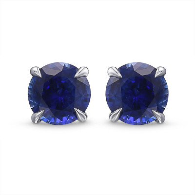 Round Blue Sapphire Stud Earrings (1.42Ct TW)