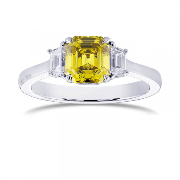 Fancy Deep Greenish Yellow Emerald and Trapezoid Engagement ring (1.37Ct TW)
