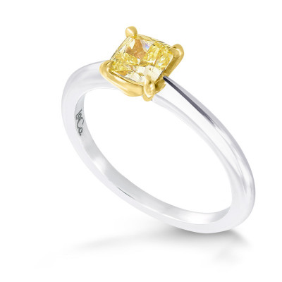 Fancy Yellow Cushion Solitaire Diamond Engagement Ring (0.60Ct)
