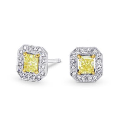 Fancy Yellow Radiant Diamond Halo Earrings (0.91Ct TW)
