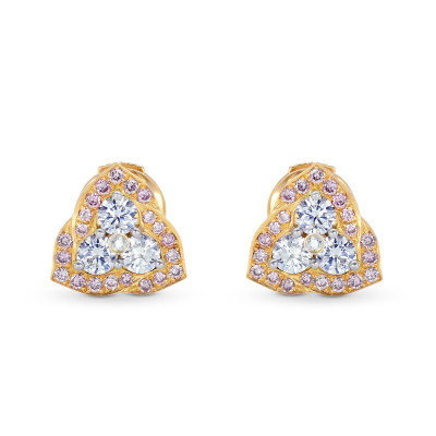 Fancy Pink and White Diamond Pave set Earrings (0.63Ct TW)