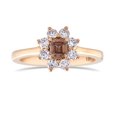 Fancy Dark Orange Brown Emerald and White Brilliant Diamond Dress Ring (0.63Ct TW)