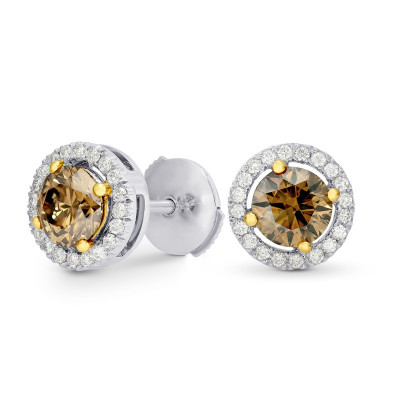Fancy Brown Round Diamond Floating Halo Earrings (1.73Ct TW)