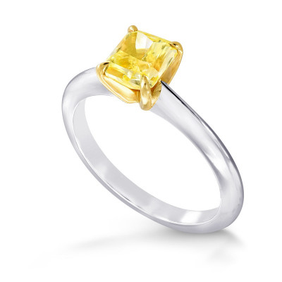 Fancy Intense Yellow Radiant Diamond Solitaire Ring (1.01Ct)