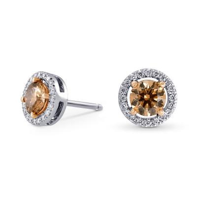 Fancy Brown Halo Stud Diamond Earrings (1.49Ct TW)