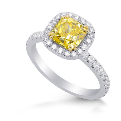 Fancy Vivid Yellow Cushion Diamond and Pave Engagement Ring (2.84Ct TW)