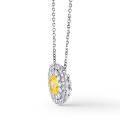 Fancy Vivid Yellow Oval Diamond Double Halo Pendant (1.25Ct TW)