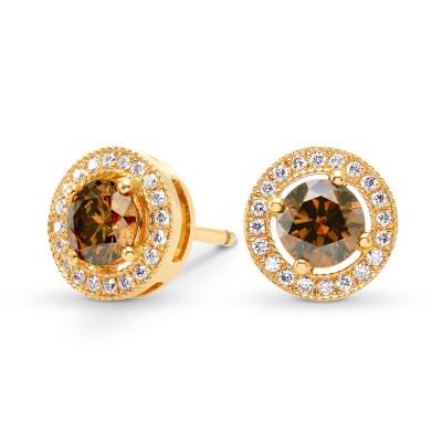Fancy Deep Orangey Brown & Fancy Deep Orange Round Diamond Halo Earrings (0.76Ct TW)
