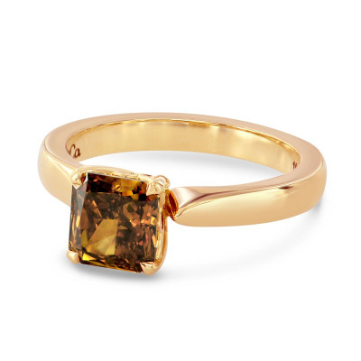 Fancy Deep Brown Orange Radiant Diamond Solitaire Ring (1.40Ct)