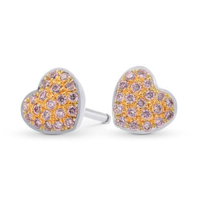 Fancy Pink Diamond Pave Heart Earrings (0.21Ct TW)