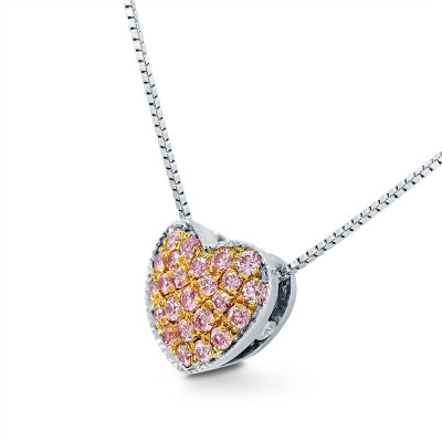 Fancy Pink Pave Heart Diamond Pendant (0.15Ct TW)