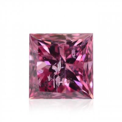 0.15 carat, Fancy Vivid Purplish Pink Diamond, Princess Shape, (I1) Clarity, GIA