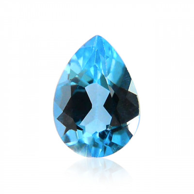 0.74 carat, Blue Topaz, Pear Shape, Heat treatment