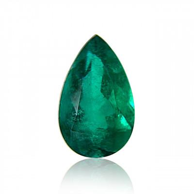2.49 carat green Colombian emerald, pear shape