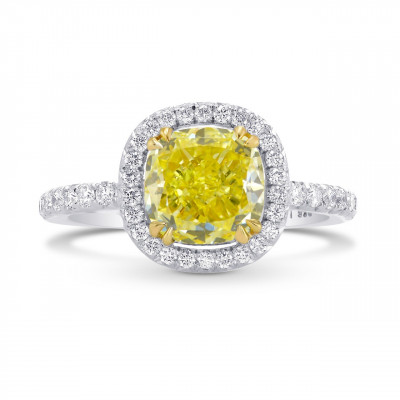 Fancy Intense Yellow Cushion Diamond Halo Ring (2.90Ct TW)