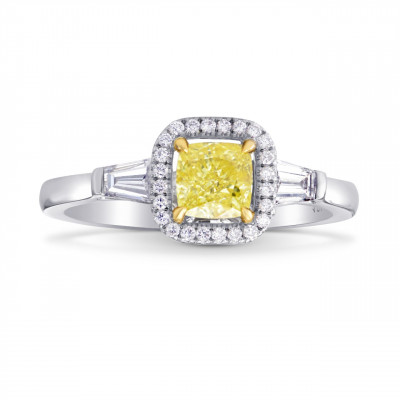 Fancy Intense Yellow Cushion and Taper Diamond Ring (0.93Ct TW)