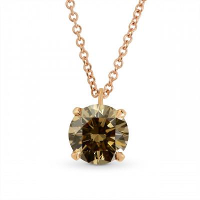 Fancy Yellow Brown Brilliant cut  Diamond Solitaire Pendant (1.14Ct)