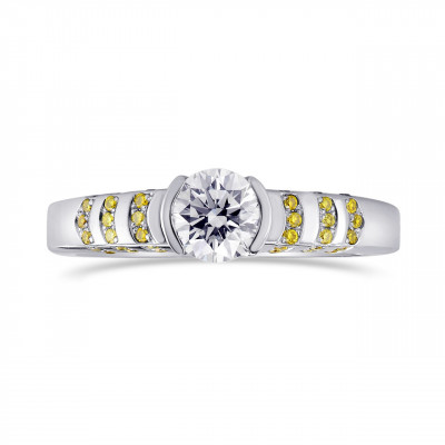 White Round Solitaire Diamond Ring with Yellow Pave (0.73Ct TW)